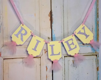 Girls Name Banner, Pink, Yellow and Gray Banner with Tulle, Birthday Banner, Baby Shower Banner, Girls Birthday Decoration, Pink Lemonade
