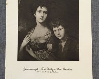 Gainsborough. Miss Linley & her brother. 1920's antique print