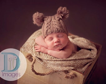 Baby hat newborn photo prop  jester hand knit cabled mid brown taupe poms neutral boy girl unigender professional photography