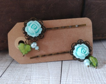 Vintage Rose Shabby Chic Hair Clip Set Czech Glass and Swarovski Crystal Pearls