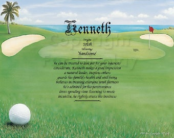 Golf Lovers Name Meaning Print