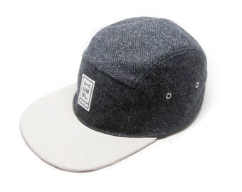 Black Wool & Stone Twill - Handmade 5 panel camper hat - Organic Cotton and Wool