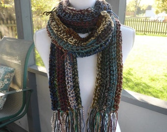 Scrap Yarn Bows Multi-Color Long Thin Ribbed Fringe Scarf ~ Fall Winter Scarf ~ Hippie Fringe Scarf ~ Crochet Knit Scarf ~ Boho Trendy