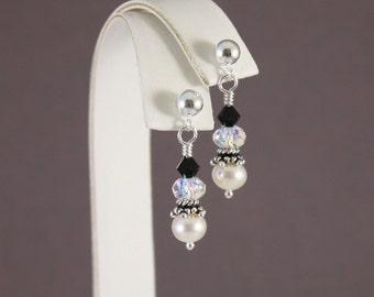 Black and White Elegance post pierced earrings