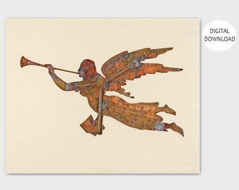 "Angel Art, Spiritual Print (Cottage Chic Wall Decor, Digital Download Vintage) -- 1930s PRINTABLE Art ""Gabriel's Horn Weather Vane"""