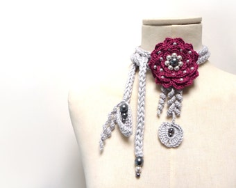 Crochet Cotton Lariat Necklace - Light Grey Leaves and Plum Purple / Burgundy  Flower with Glass Pearls - LITTLE PEONY