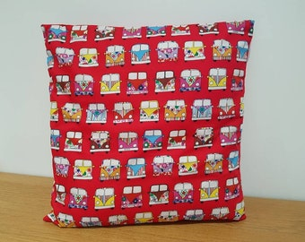 Handmade Cushion Cover - Rose & Hubble - VW Campervan Retro - Various Colours and Sizes Red