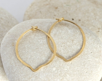 Gold petal earrings, Small hammered 14K or gold fill hammered petal hoops