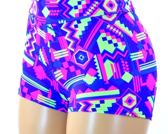 NEON UV Glow Purple Hot Pink and Lime Aztec Geometric Southwest Print High Waist Pinup Shorts  151309