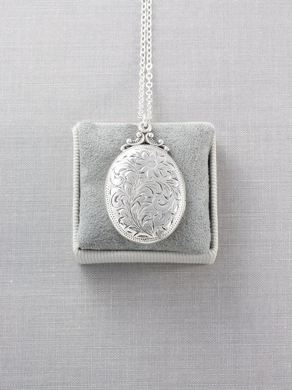 Birks Sterling Silver Locket Necklace, Vintage Swirling Vine Engraved Oval Photo Pendant - Nostalgia