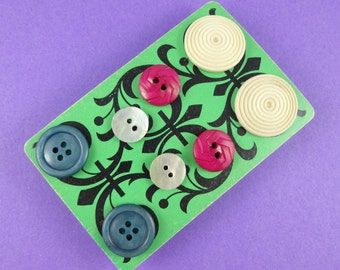 Button Earrings - set of four pairs of studs - plastic buttons in blue, cream, magenta and iridescent shell - cute kitsch novelty retro fun