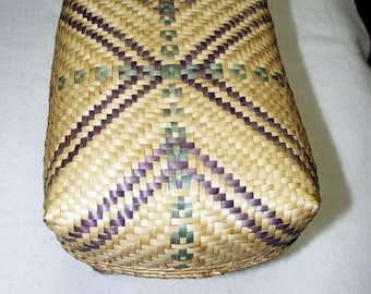 Small Bast basket with lid, approx. 21x16x11 cm