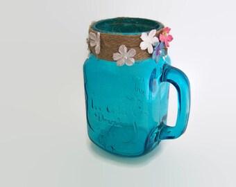 Blue Glass Jug - Decorated Glass Vase - Upcycled Glass Drinks Jar