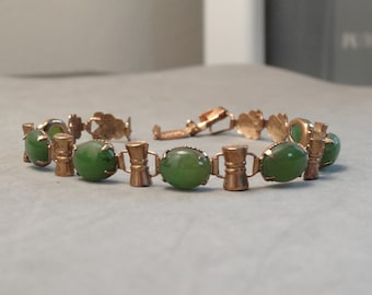 Vintage ART DECO Braclet Gold Filled Genuine Green Chrysoprase Stones Foldover Clasp Leaf Links Feminine Jewelry