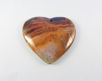 Stone heart pendant / orange blue and white agate pendant / heart pendant for necklace