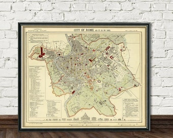 Map of Rome - Old map of Rome print - City maps prints - Giclee reproduction