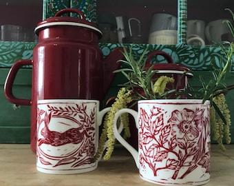 Leaping hare lino cut mug