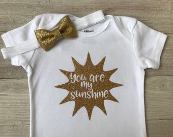 You Are My Sunshine, Gold and White Bodysuit