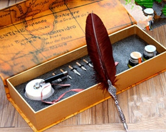 Writting Feather quill pen set- Antique Feather Pen Set - Metal Nibbed Calligraphy Pen Set Writing Quill- Metal Pen Stand -MK-003-02