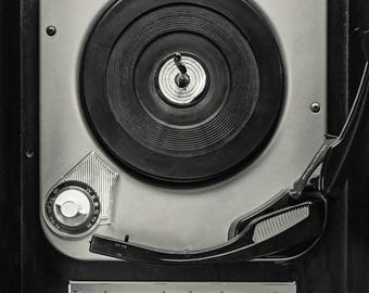 High Fidelity; fine art photography, modern art, wall art, retro art, cabin decor, vintage styled art, old record player, by F2images