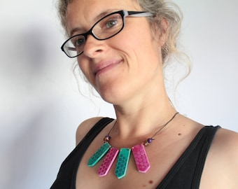 Handmade Green and Pink Statement Necklace Up-cycled Wood, Copper, Leather, Painted Wood, Boho, Hippie, Festival, Tribal, Geometric