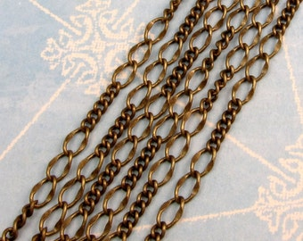 Chain Long And Short Antique Brass Soldered 3' AB40