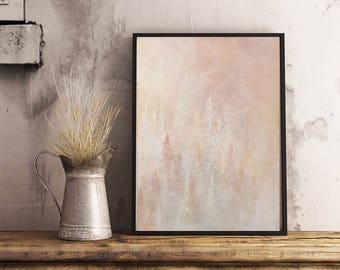 Shimmering Pink Forest Downloadable Art Print - Instant Digital Download - Nature Art Print - 3 Sizes Included