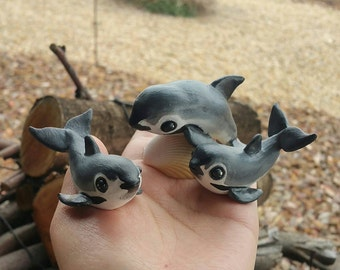 Vaquita porpoise polymer clay figure on shell//endangered species//50 percent proceeds donated//marine mammals//awareness/Made to order