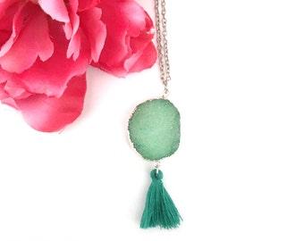 green silver druzy agate pendant with tassel- statement necklace - gemstone -silver dipped druzy necklace - druzy charm - bohemian jewelry