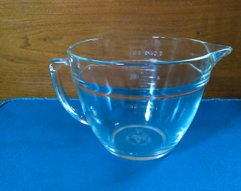 Mid 1970s Fire King 2 Qt Clear Glass Batter Bowl