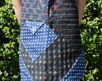 Country Style Quilted Apron with Blue and White Star Backing Fabric