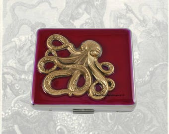 Octopus 7 Day Pill Box Inlaid in Hand Painted Oxblood  Enamel Nautical Inspired Personalized and Color Options Available