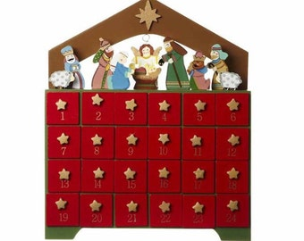 Traditional Wooden Advent Christmas House Calendar - December Count Down - For Adults & Kids Alike