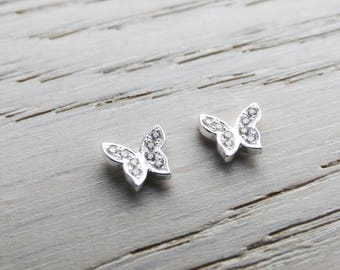 Sterling Silver Butterfly Studs, Cubic Zirconia