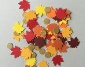 Paper Confetti: Thanksgiving Table Decor, Fall Decor, Autumn Leaves and Gold Glitter Circles. Yellow, Orange, Red and Burgundy