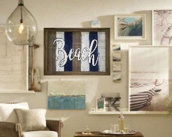 Beach Sign / Rustic / Blue / Living room / Bathroom / Bedroom