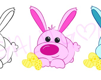 Bunny with easter eggs Digital Stamp