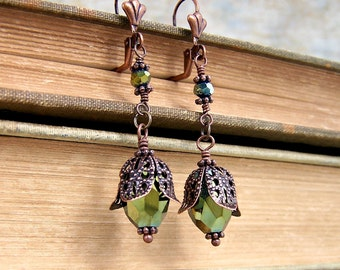 Filigree Earrings in Copper and Green with sparkling faceted green beads like green buds