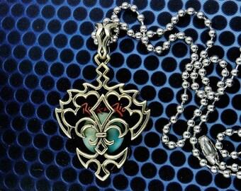 Fleur De Lis Guitar Pick  Pendant Holder Necklace, Free Shipping