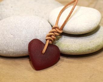 red sea glass pendant heart sea glass beach jewellery ocean pendant sea glass necklace sea foam pendant mothers day necklace red heart