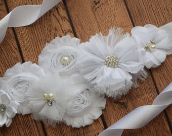 White sash ,flower Belt, maternity sash, wedding sash, flower girl sash, maternity sash belt