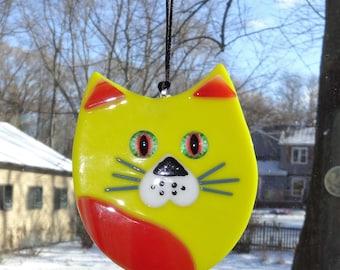Fused Glass Cat Suncatcher, Yellow and Amber Fused Glass Cat, Cubby Cat Suncatcher, Kitten Suncatcher, Cat Suncatcher
