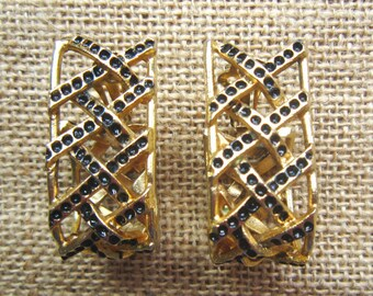 Vintage Ugo Correani gold tone earrings, 1980 made in Italy