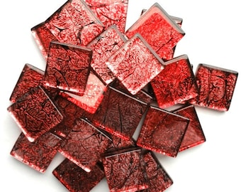 """ON SALE 20mm (3/4"""") Rose Red Antiqued Foil Backed Crackled Crystal Glass Mosaic Tile//Craft Supplies//Mosaic Supplies"""