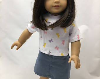 18 inch doll clothes; skirt and t-shirt