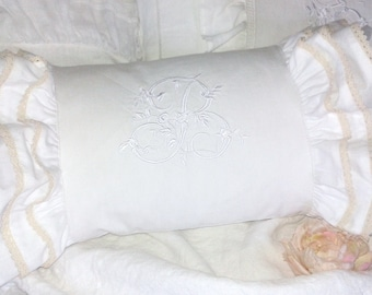 Linen pillow vintage shabby chic and pretty 3 flounces