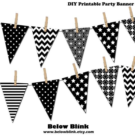 Black and White Banner Printable Party Banner Happy Birthday