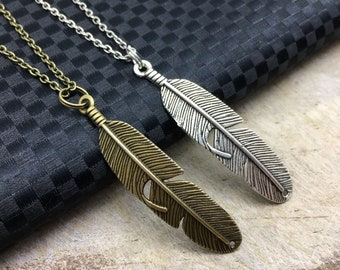 FEATHER Necklace Feather Jewelry Feather Gift Big Feather Charm Bird Jewelry Bird Feather Jewelry Bird Lovers Gift Animal Jewelry Bird Gift