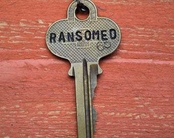 "Hand Stamped Vintage Key ""RANSOMED"" Necklace (#486) - Jewelry Necklace Pendant Custom"
