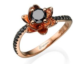 Flower Black Diamond Engagement Ring, Rose Gold Ring, Unique Engagement Ring, Art Deco Ring, 14K Gold Ring, Alternative Rings